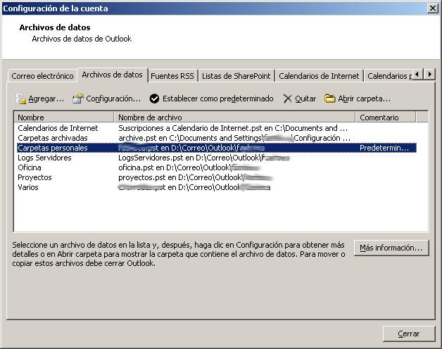 Pantalla de configuración de Outlook: ficheros de datos pst